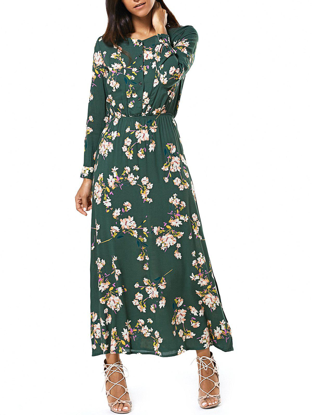 Long Sleeve Buttoned Floral Print Women's Maxi Dress exaggerate bell sleeve buttoned keyhole dress