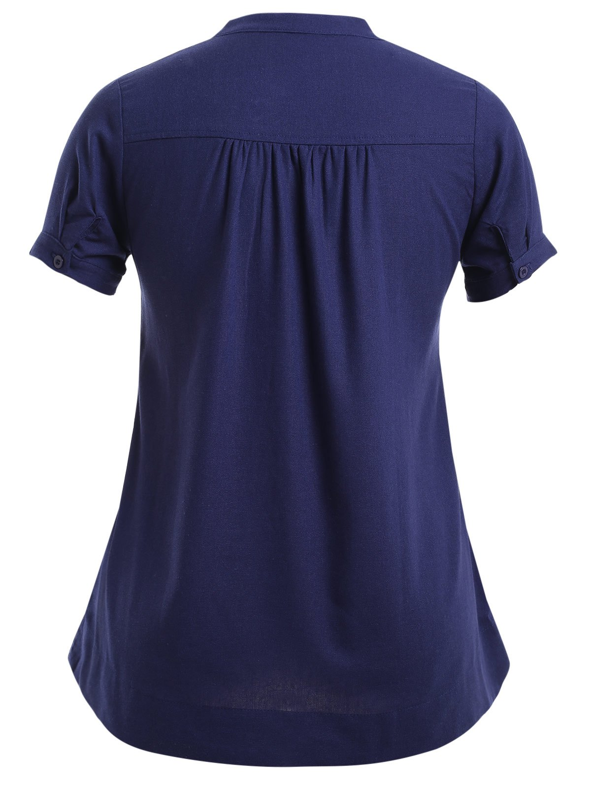 Guipure Buttoned Pure Color Dress - PURPLISH BLUE 4XL