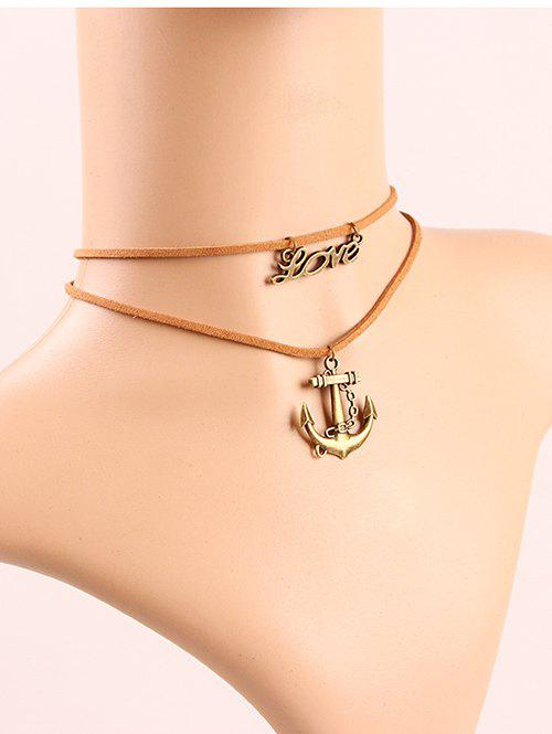 Stylish Anchor Letters Layered Choker - LIGHT BROWN