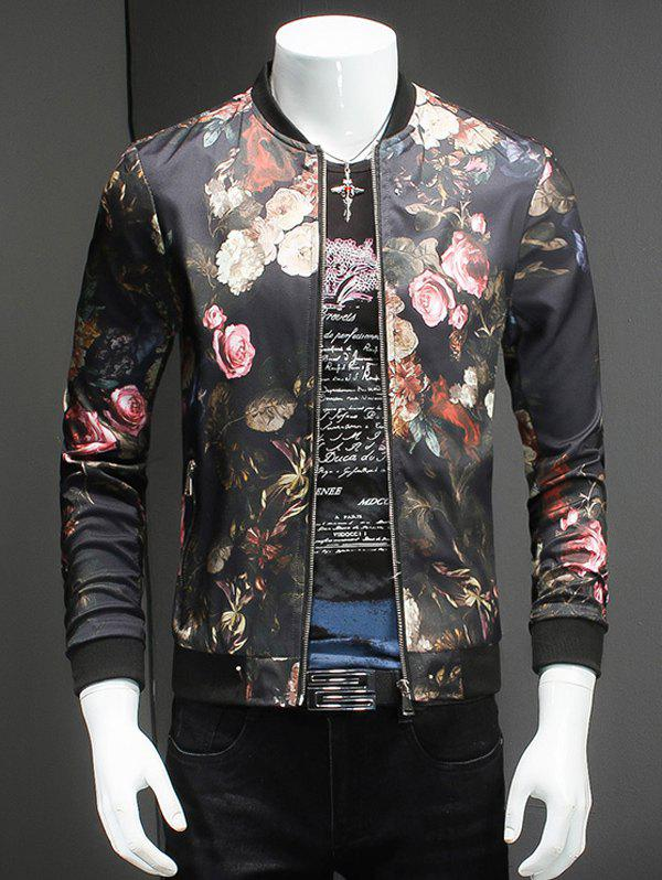 Roses Print Stand Collar Long Sleeves Jacket - BLACK 5XL