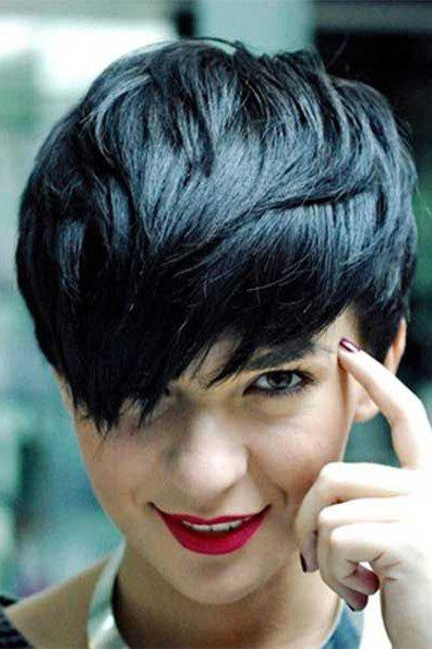 Virile Women's Short Fluffy Side Bang Black Synthetic Hair Wig - BLACK