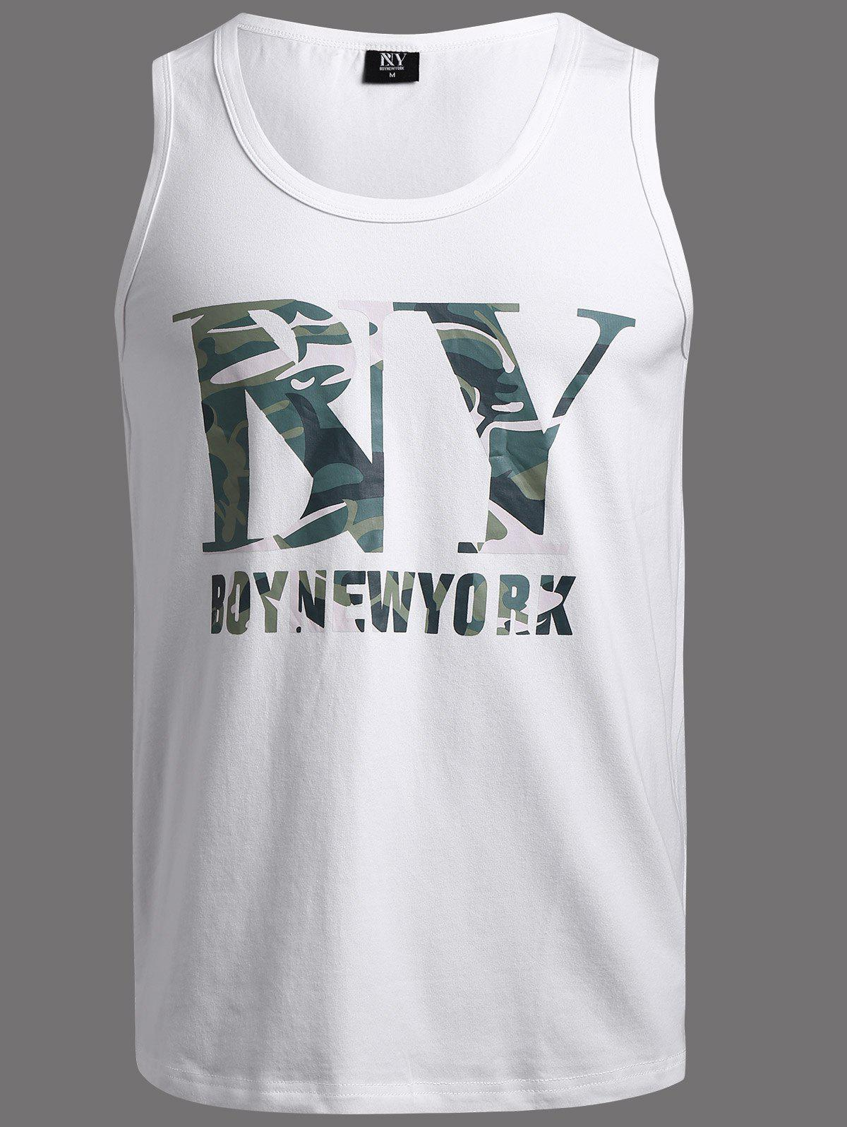 BoyNewYork Camo Pattern Tank Top - WHITE XL