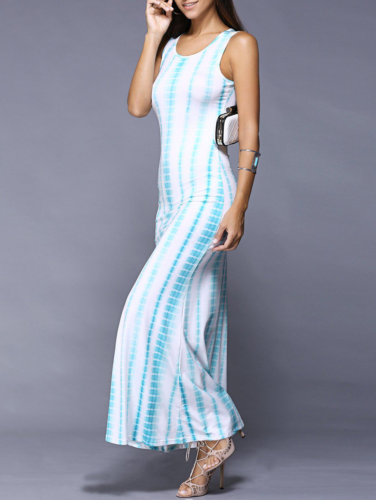 Bohemian Sleeveless Ombre Abstract Print Bodycon Dress
