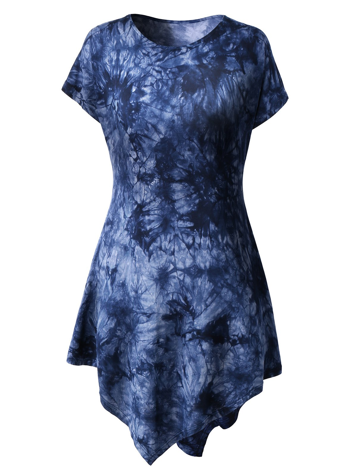 Round Neck Short Sleeve Tie-Dyed Handkerchief Dress