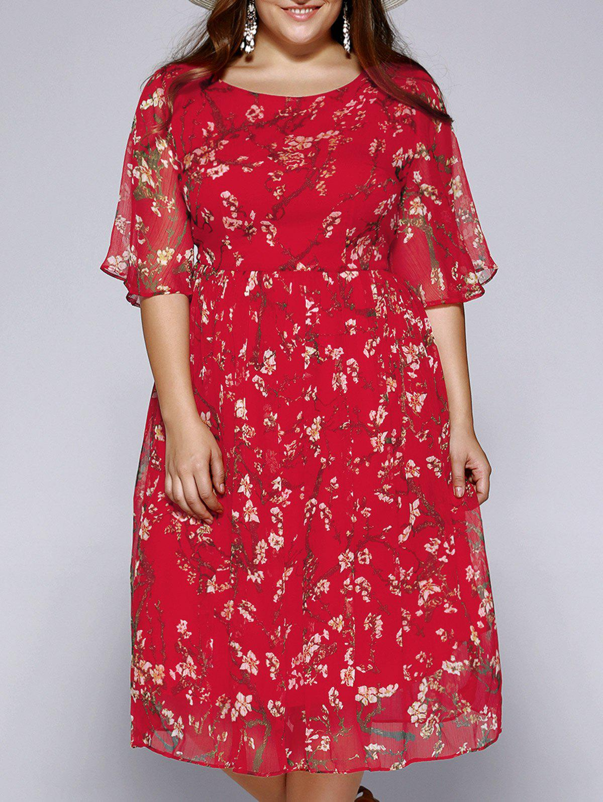 Plus Size Sweet Wintersweet Print Dress - RED 3XL