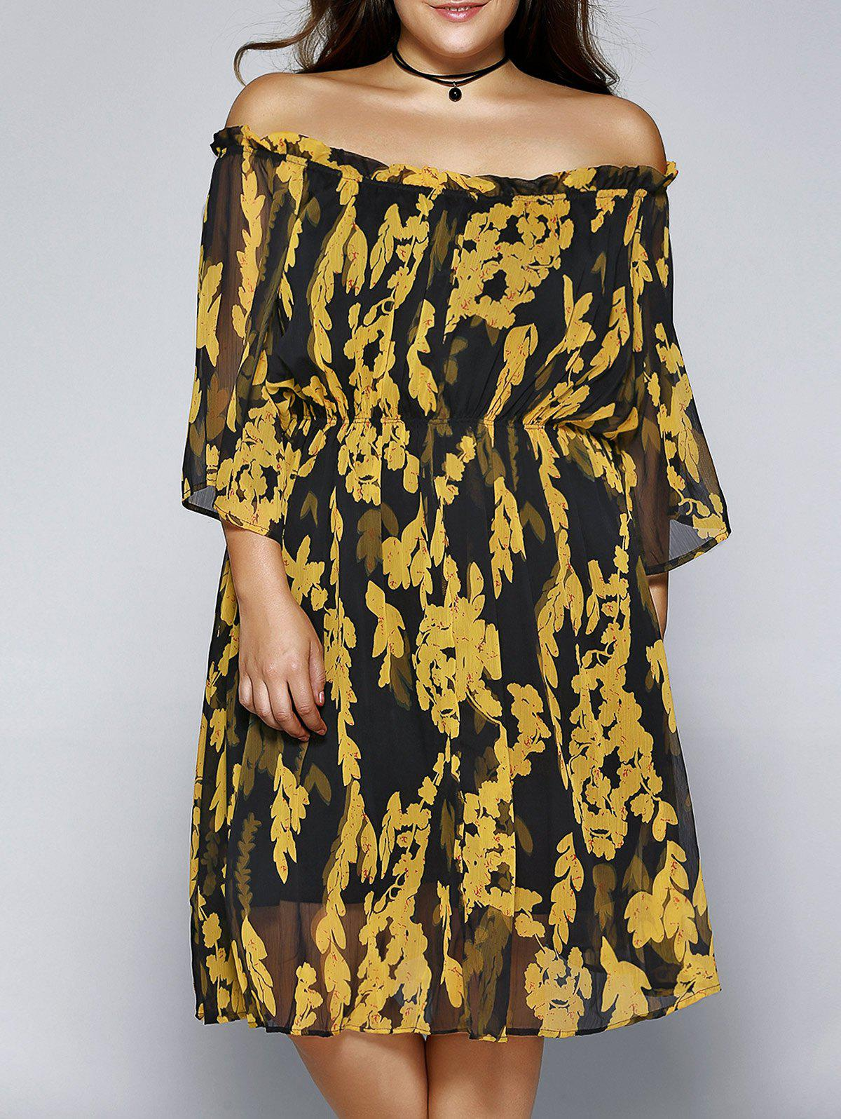 Plus Size Refreshing Off-The-Shoulder Dress