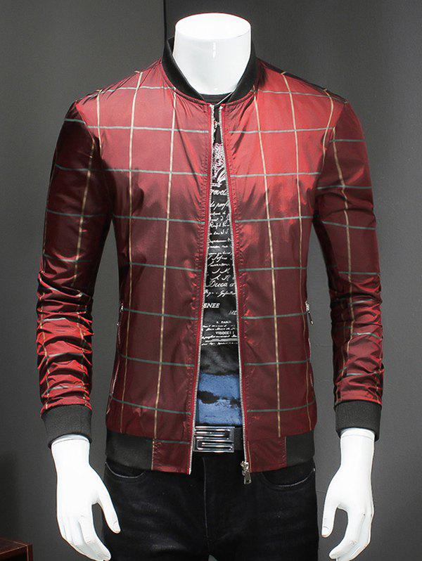 Checked Ribbed Collar Long Sleeves Jacket - RED 3XL
