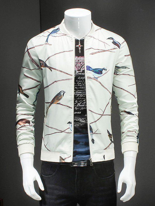 Birds Print Ribbed Collar Long Sleeves White Jacket For Men - OFF WHITE 3XL