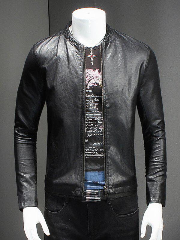 Pure Color Stand Collar Long Sleeves Leather Jacket For Men - BLACK XL