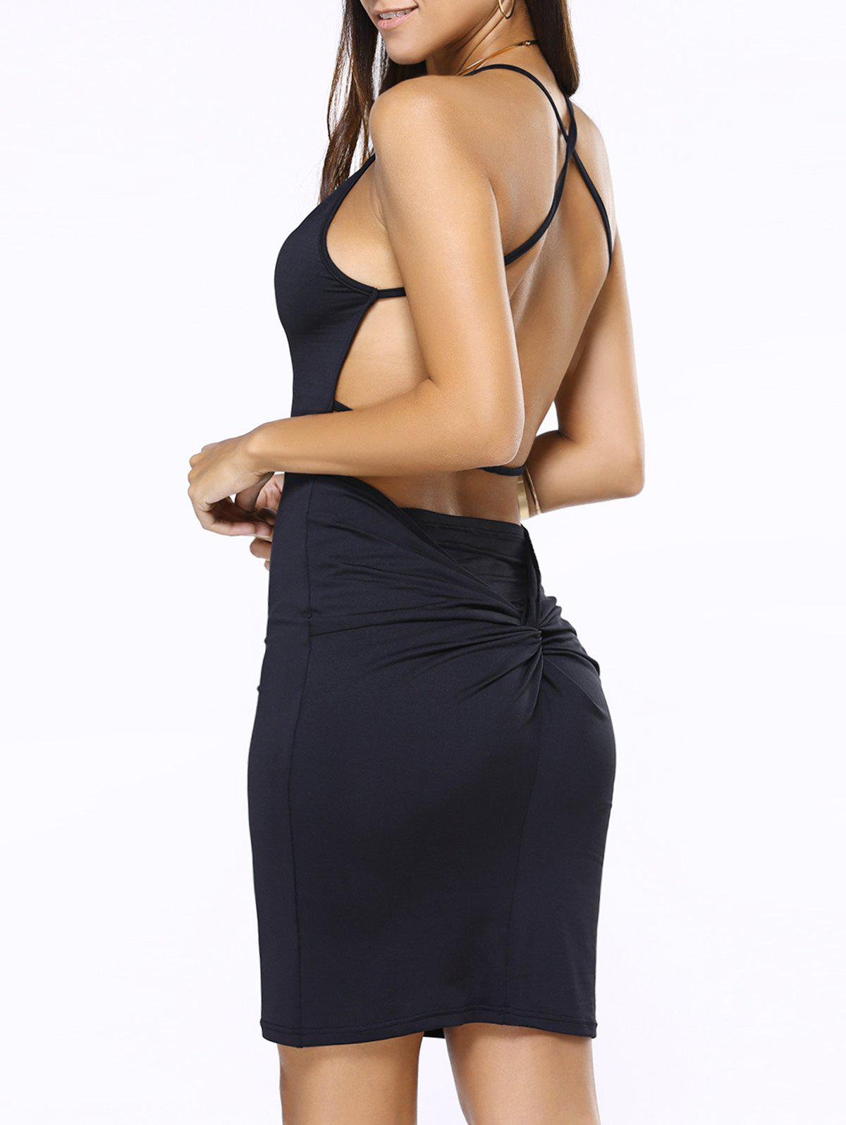 Criss Cross Low Back Slip Club Dress - BLACK S