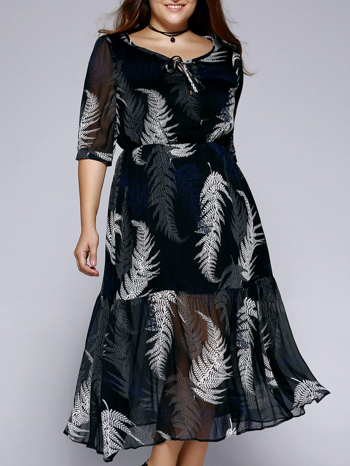 Oversized Stylish Tie Front Plant Print Dress - BLACK XL