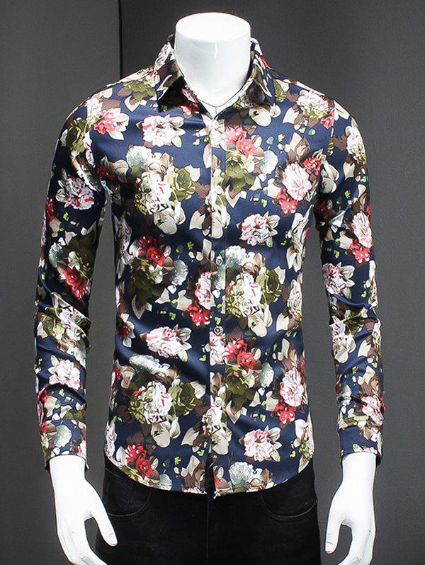 Fashionable Flowers Print Turn-Down Collar Long Sleeves Shirt For Men - COLORMIX 5XL