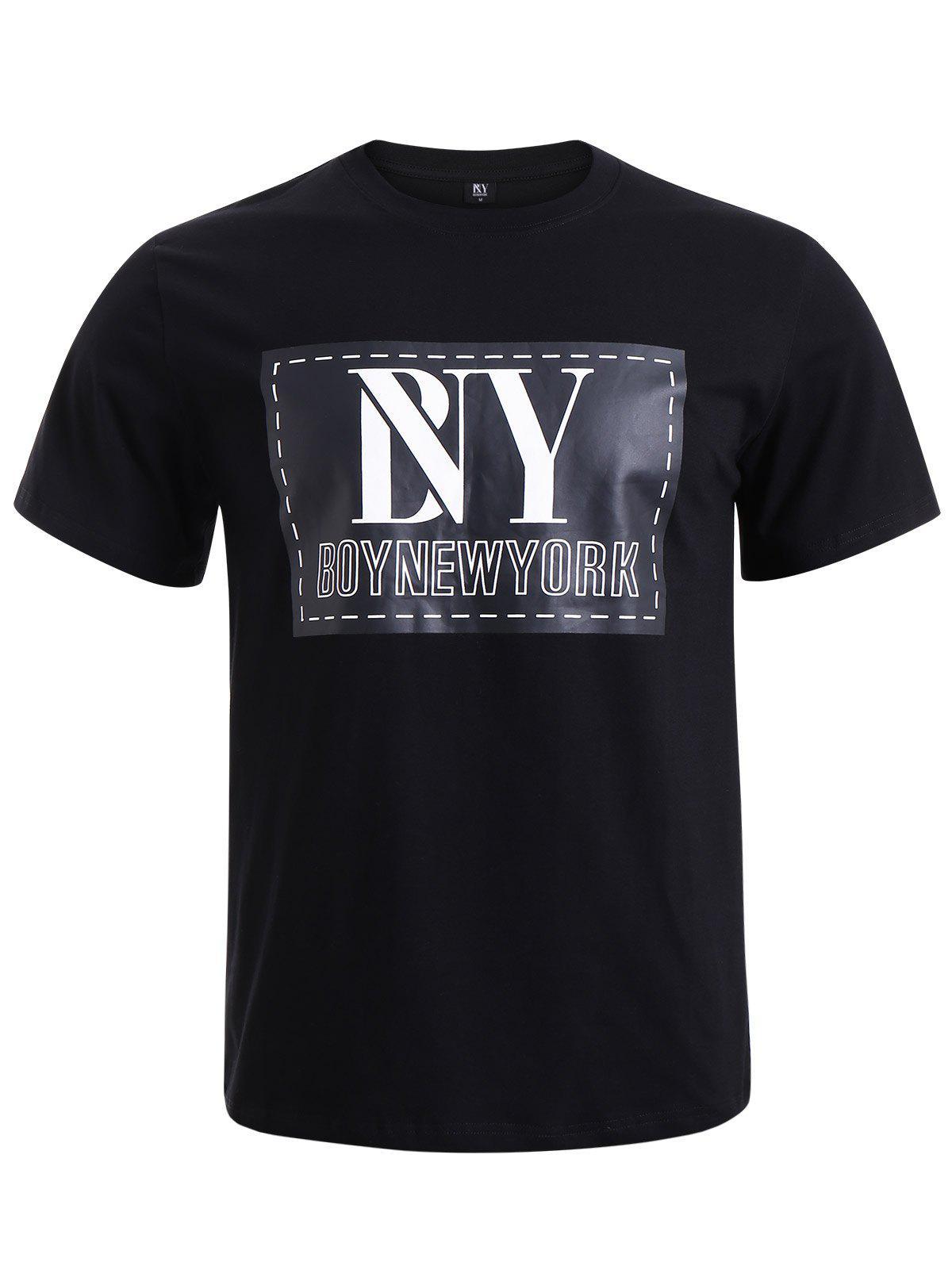 BoyNewYork Solid Color Applique Short Sleeves T-Shirt - BLACK XL