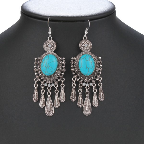 Pair of Ethnic Style Faux Turquoise Fringe Earrings For Women