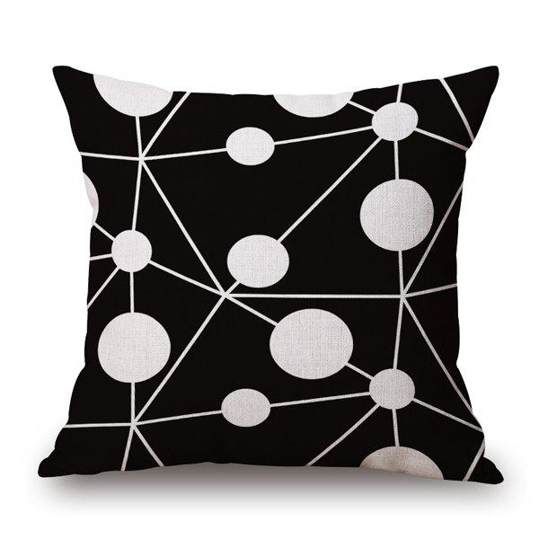 Modern Chemistry Model Black Base White Round Pattern Pillow Case