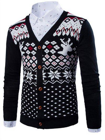 Deer Ethnic Style Geometric Pattern V-Neck Long Sleeve Men's Cardigan - BLACK 2XL