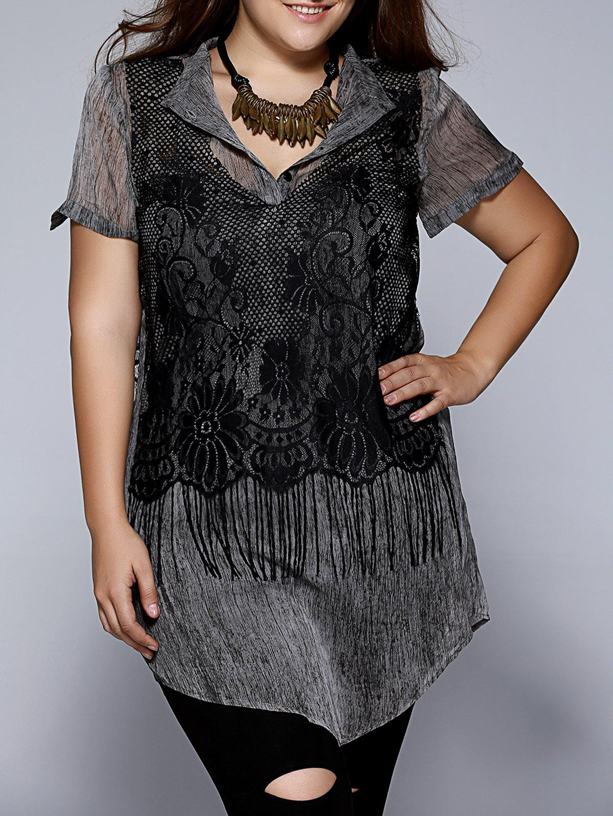 Oversized Chic Black Tank Top +Fringed Buttoned Blouse Twinset