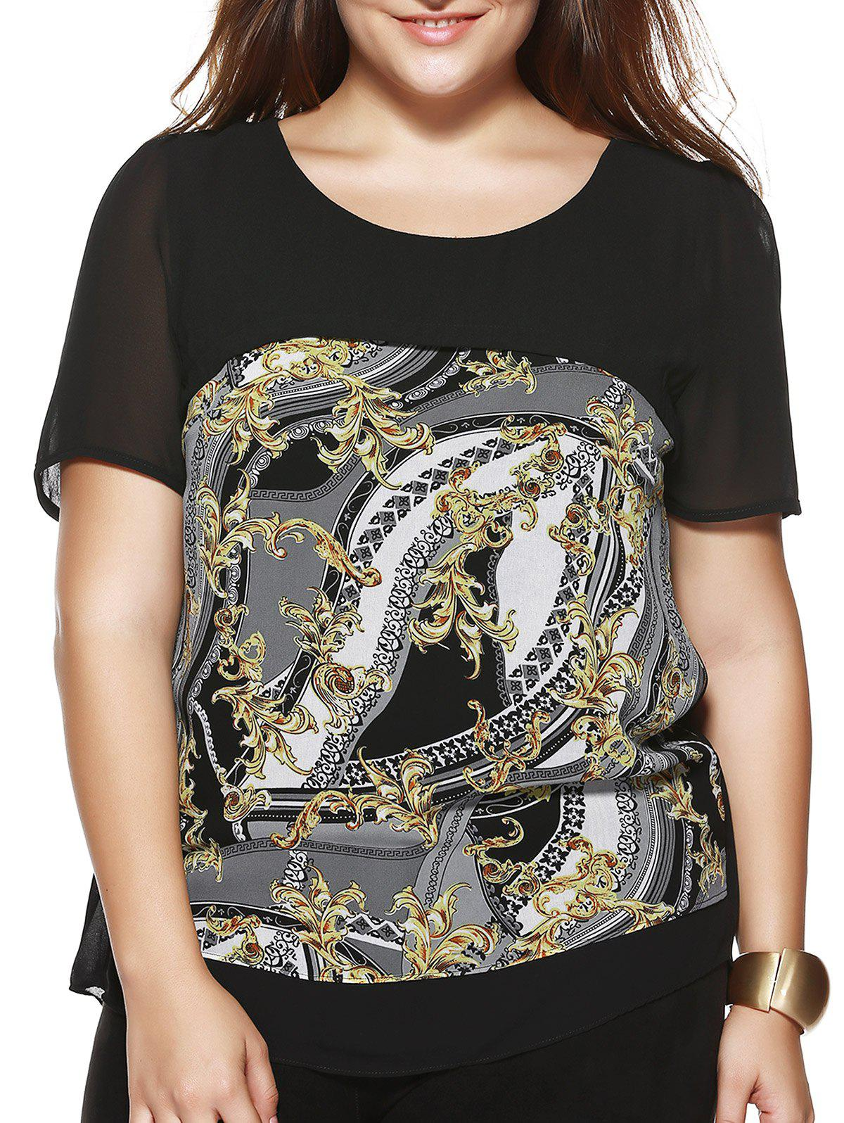 Plus Size Chic Abstract Pattern Chiffon Blouse - BLACK 5XL