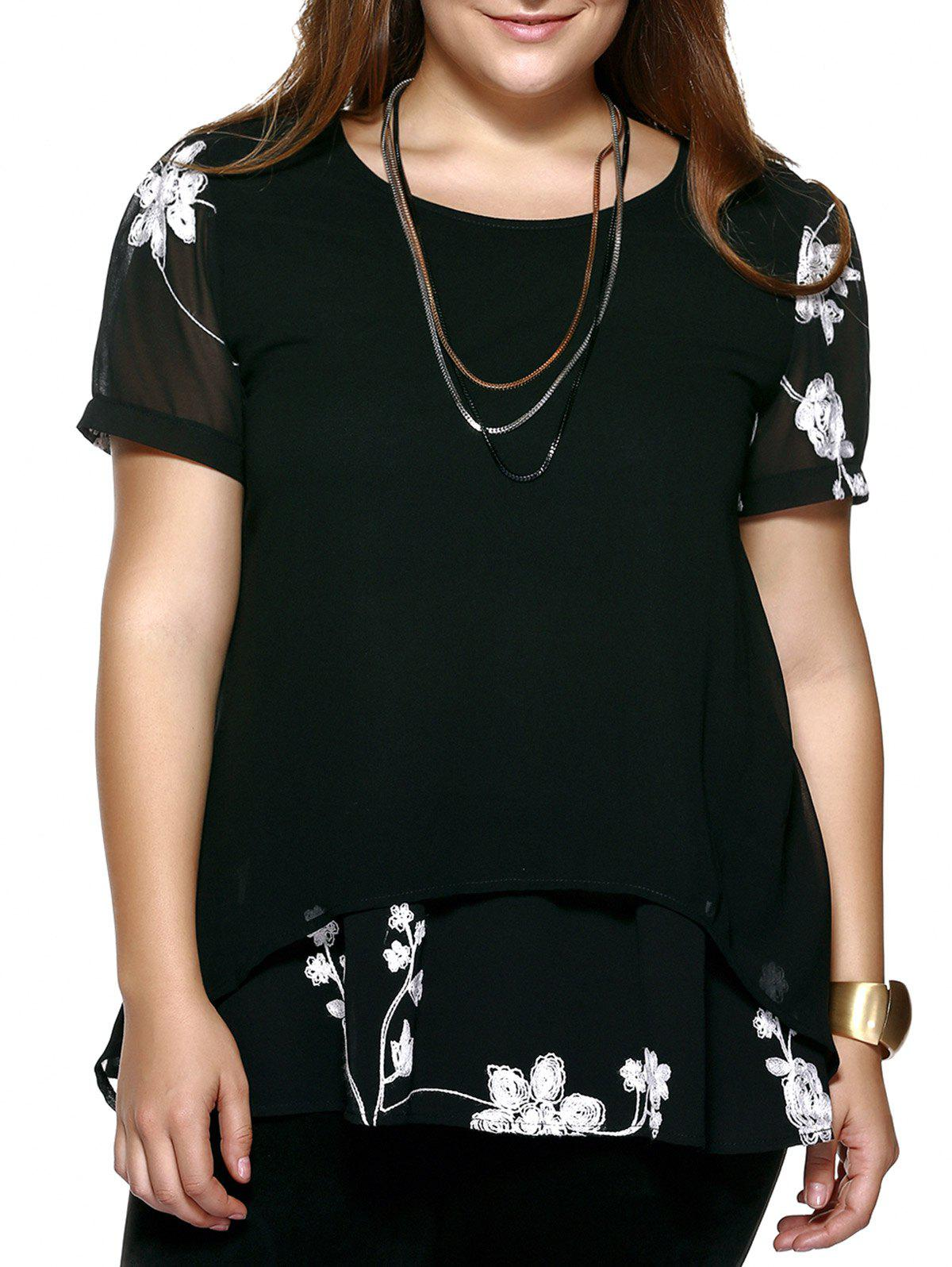 Crochet Floral Plus Size Blouse - BLACK 2XL