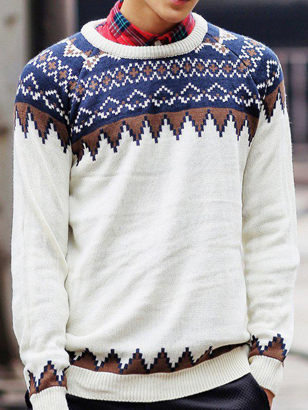 Ethnic Style Geometric Pattern Round Neck Long Sleeve Men's Sweater