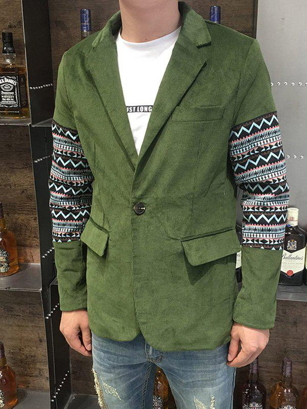 Ethnic Style Geometric Print Splicing Lapel Long Sleeve Men's Blazer - ARMY GREEN L