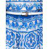 High-Waist Printed Belted Chiffon Dress - BLUE M