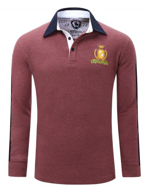 Embroidered Turn Down Collar Long Sleeve Men's Polo Shirt - DARK RED M