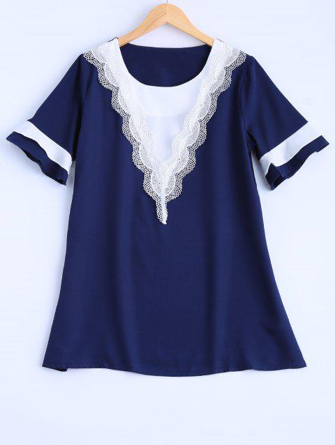 Plus Size Lace Trim Blouse - DEEP BLUE XL