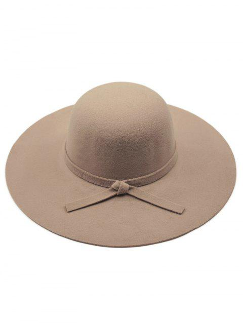 Chic Solid Color Knot Felt Floppy Hat - DARK KHAKI