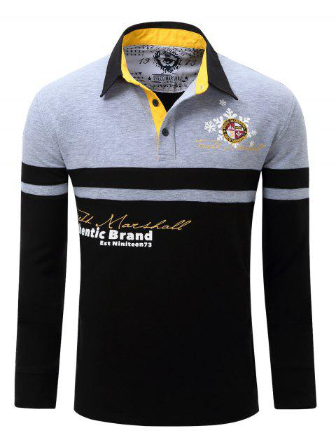 Color Splicing Letter Snowflake Print Embroidered Patch Men's Polo Shirt - GRAY L