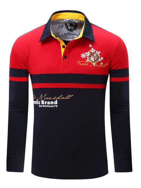 Color Splicing Letter Snowflake Print Embroidered Patch Men's Polo Shirt - RED M