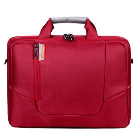 Stylish Zippers and Solid Color Design Men's Laptop Bag - RED