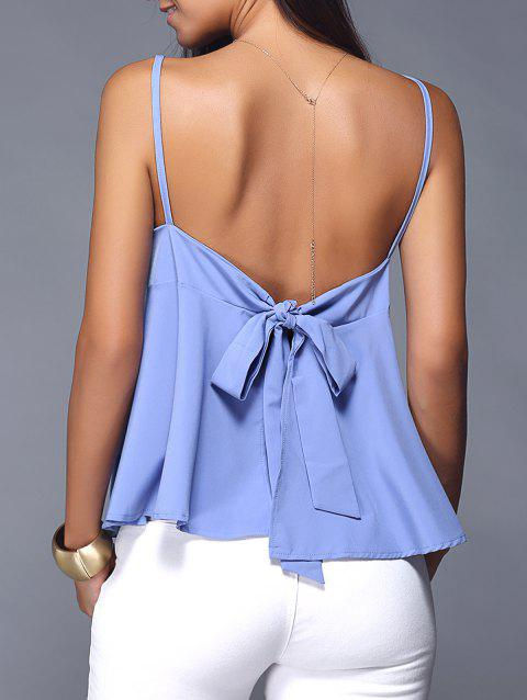 Bowknot Backless Slit Cami Top - BLUE 3XL