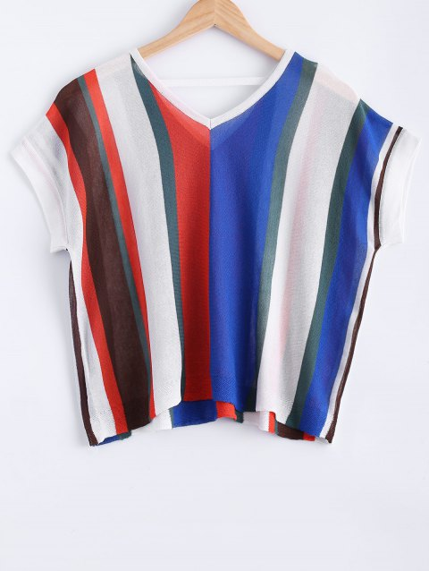 566c7a5a8d4 Loose-Fitting Women s V-Neck Colorful Striped Short Sleeves Knitwear -  COLORMIX ONE SIZE