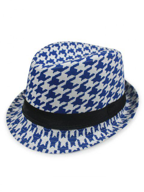 LIMITED OFFER  2019 Chic Houndstooth Fedora Hat In BLUE  5ae1de353c1