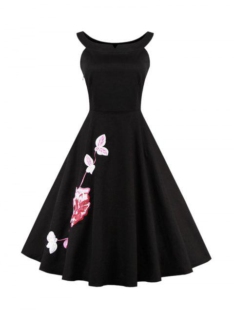 Floral Embroidered Waisted Corset Cocktail Dress - BLACK M