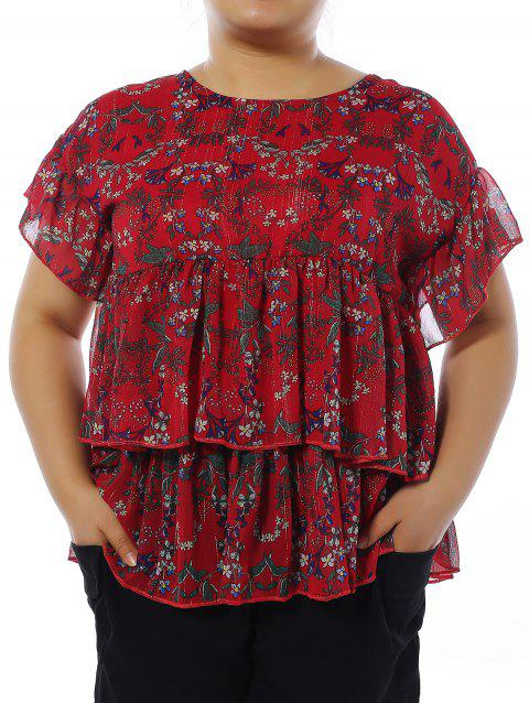 Oversized Sweet Layered Tiny Floral Blouse + Black Shorts - RED 3XL
