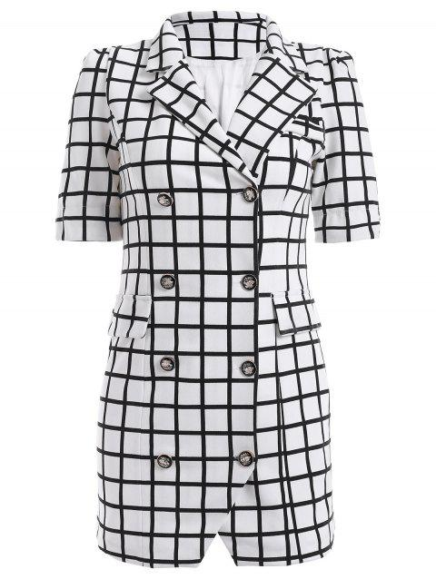 Double-Breasted Plaid Lapel Collar Sheath Dress - CHECKED M