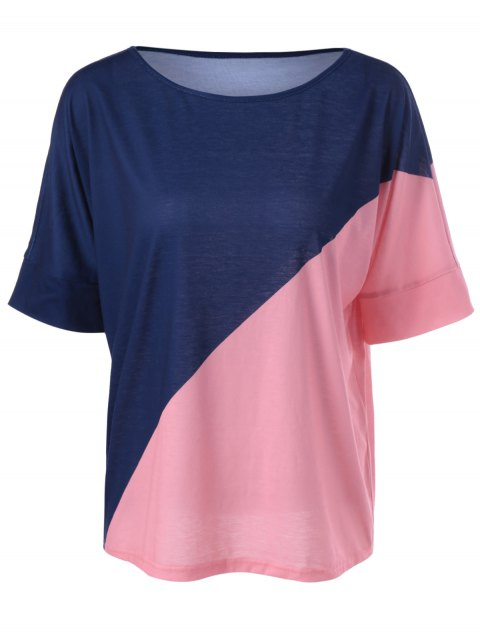 Casual Knitting Color Block Top For Women - BLUE/PINK L