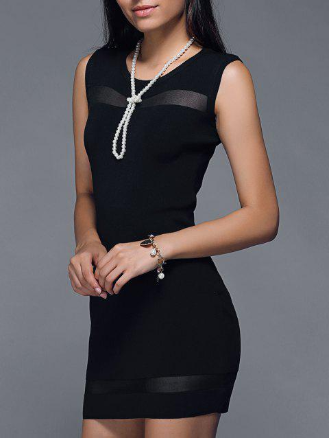 Alluring Mesh Spliced Solid Color Bodycon Dress - BLACK ONE SIZE