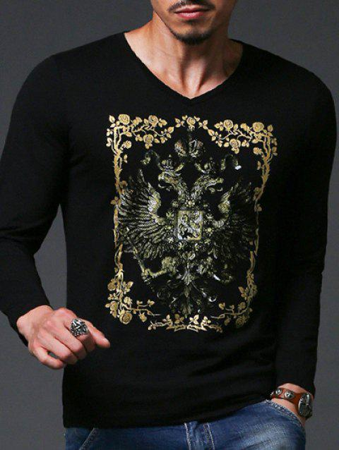Fashion Gold Stamping Slim Fit Long Sleeve T-Shirt For Men - BLACK 2XL