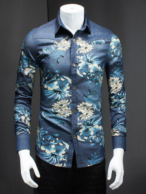 Plus Size Turn-Down Collar 3D Flower Print Long Sleeve Men's Denim Shirt - COLORMIX XL