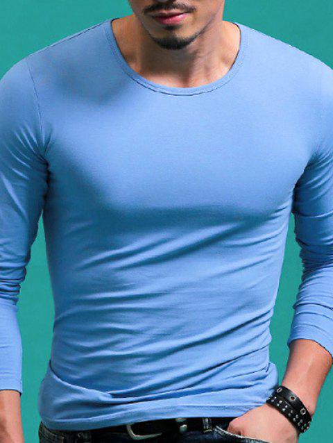 Round Neck Long Sleeve Solid Color T-Shirt For Men - LIGHT BLUE L