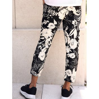 Floral Print Lace-Up Men's Nine Minutes of Pants - WHITE/BLACK XL