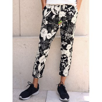 Floral Print Lace-Up Men's Nine Minutes of Pants