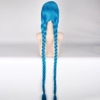 Stunning Lake Blue League of Legends Jinx Anime Cosplay Wig with Extra Long Double Braided - LAKE BLUE