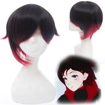 Fashion Black Straight Short Asymmetric Red Trailer Ruby Cosplay Wig