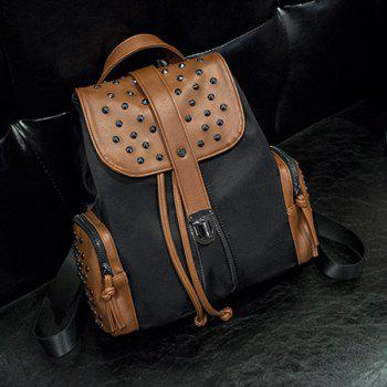 Trendy Drawstring and Rivets Design Women's Backpack
