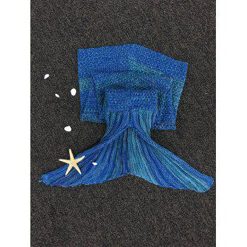 Stylish Stripe Knitted Mermaid Tail Design Blanket For Kids - DEEP BLUE