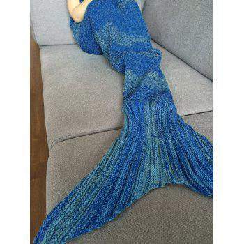 Stylish Stripe Knitted Mermaid Tail Design Blanket For Kids - DEEP BLUE DEEP BLUE